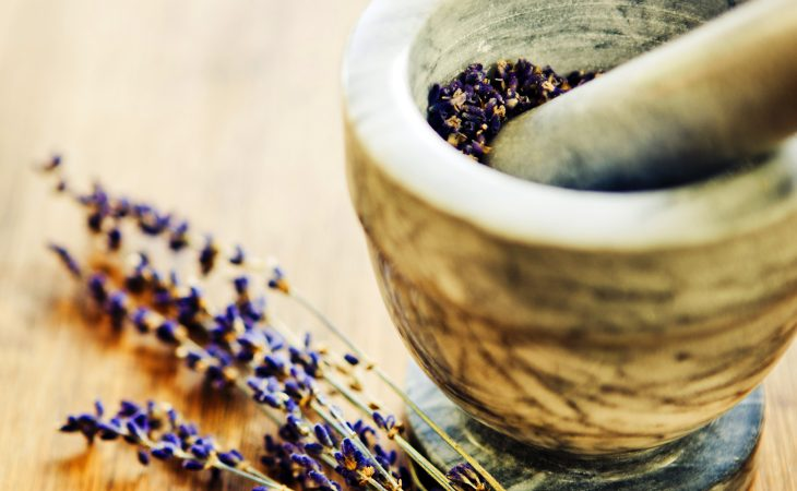 Mortar and pestle with lavender.