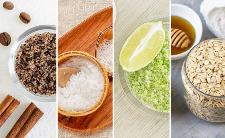 Picture with different types of exfoliants to put in scrubs like salt, lemon, coffee, and oats.