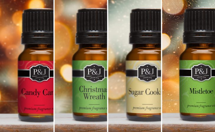 Photos of P&J Trading holiday fragrance oils.