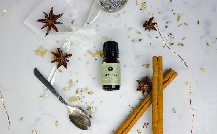 P&J Trading Chai Tea Fragrance Oil on a white background with tea decor.