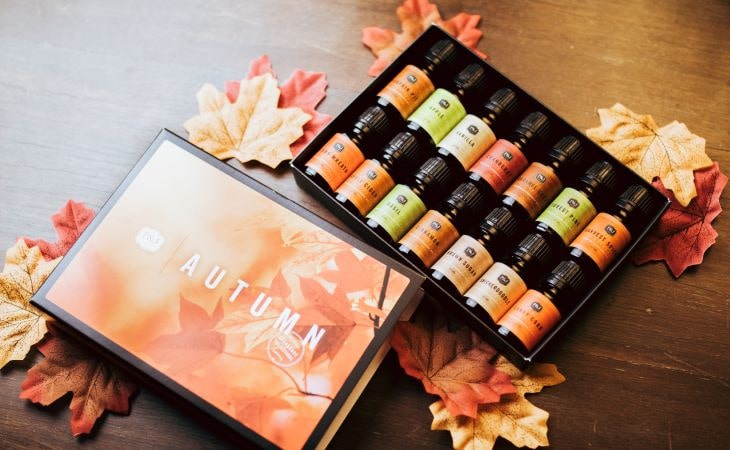 P&J Trading Autumn Collection orange leaves box with various P&J fall fragrance oils on a brown table and fall leaves.