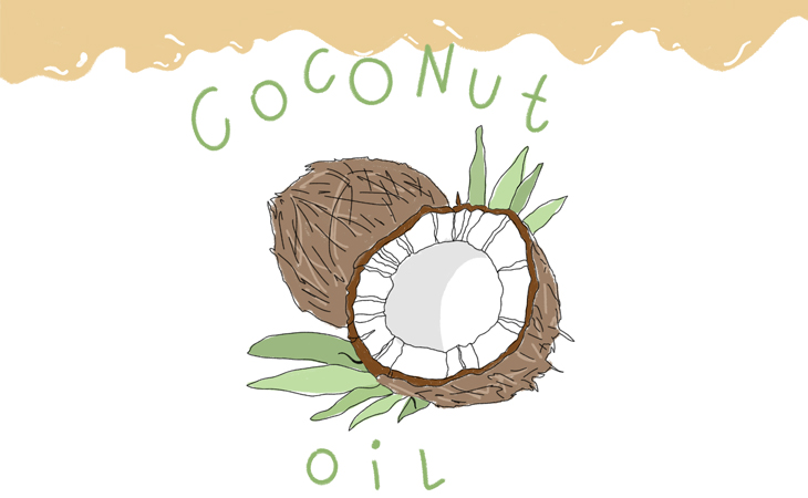 """A drawing of a coconut split open with the text: """"Coconut Oil"""" on a white background."""