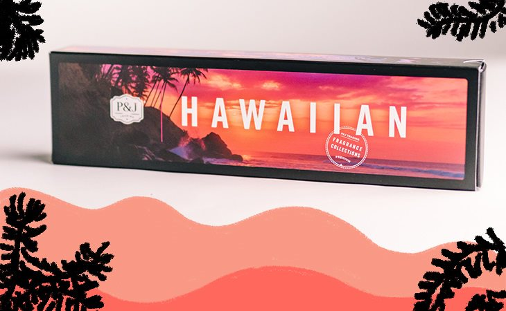 """A P&J Trading Set of Six box titled """"HAWAIIAN"""" with colorful background."""